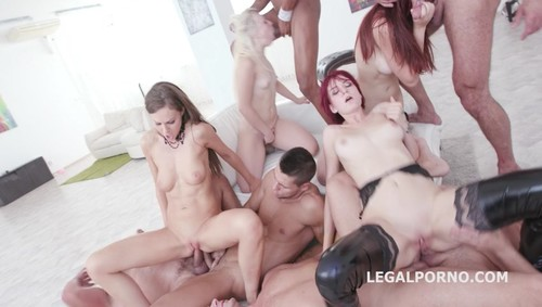 LegalPorno.com - Tina Kay, Scyley Jam, Anna Rey, Bree Haze -  Outnumbered both ways Part 2 4 girls vs 6 boys with DAP orgy GIO445